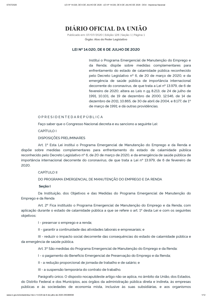 LEI Nº 14.020, DE 6 DE JULHO DE 2020 - LEI Nº 14.020, DE 6 DE JULHO DE 2020 - DOU - Imprensa Nacional_page-0001